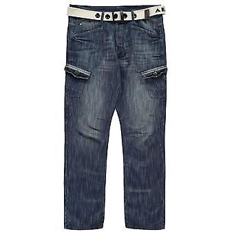 Airwalk Mens cintura Pantaloni Cargo Jeans Straight Fit Belt 6 tasche Denim Pantaloni