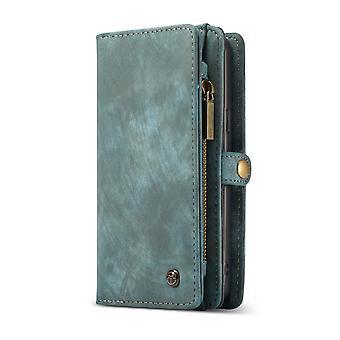 CASEME Samsung Galaxy S9 + plus retro lederen portemonnee Case blauw