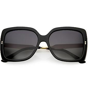 Kobiet grawerowany Metal broni Oversize placu okulary polaryzacyjne obiektyw 57mm
