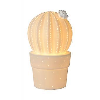 Lucide サボテン コテージ セラミックス ホワイト テーブル ランプ