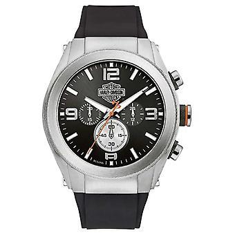 Harley Davidson Men's Rubber Strap Black Dial Chronograph 76B176 Watch