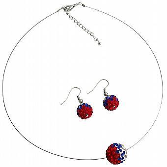 美国国旗铺平道路的球晶体嵌入颜色红色白色蓝色吊坠耳环套装