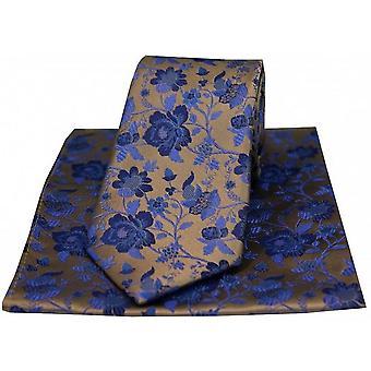 Cravate à motifs floraux David Van Hagen et mouchoir boîte cadeau - Bronze/bleu