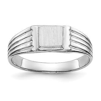 14k Hvid Guld Solid Graverbar poleret og satin for drenge eller piger Signet Ring Størrelse 5,5