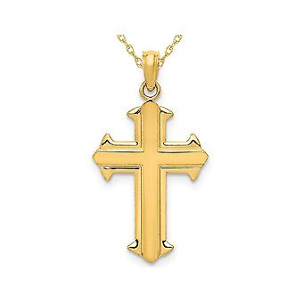 14K Yellow Gold Cross Pendant Necklace with Chain