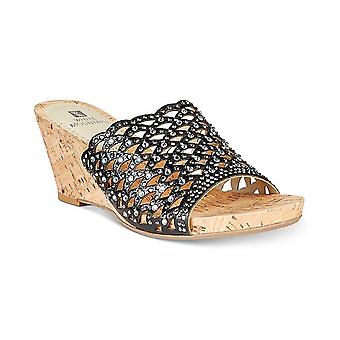 White Mountain Womens Amal Fabric Open Toe Casual Slide Sandals