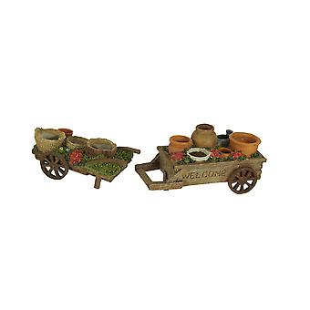 Mini Wagons Filled with Pots Decorative Planter Statue Set