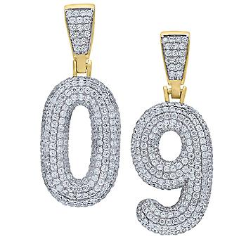 Premium bling 925 sterling silver 38mm pendant numbers gold