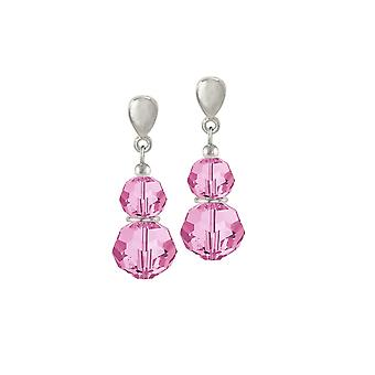 Eternal Collection Echo Rose Pink Austrian Crystal Silver Tone Drop Pierced Earrings