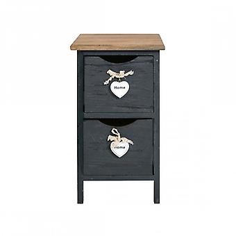 Møbler Rebecca Comodino mobil 2 lurvede træ grå skuffer 45.5 x26x32