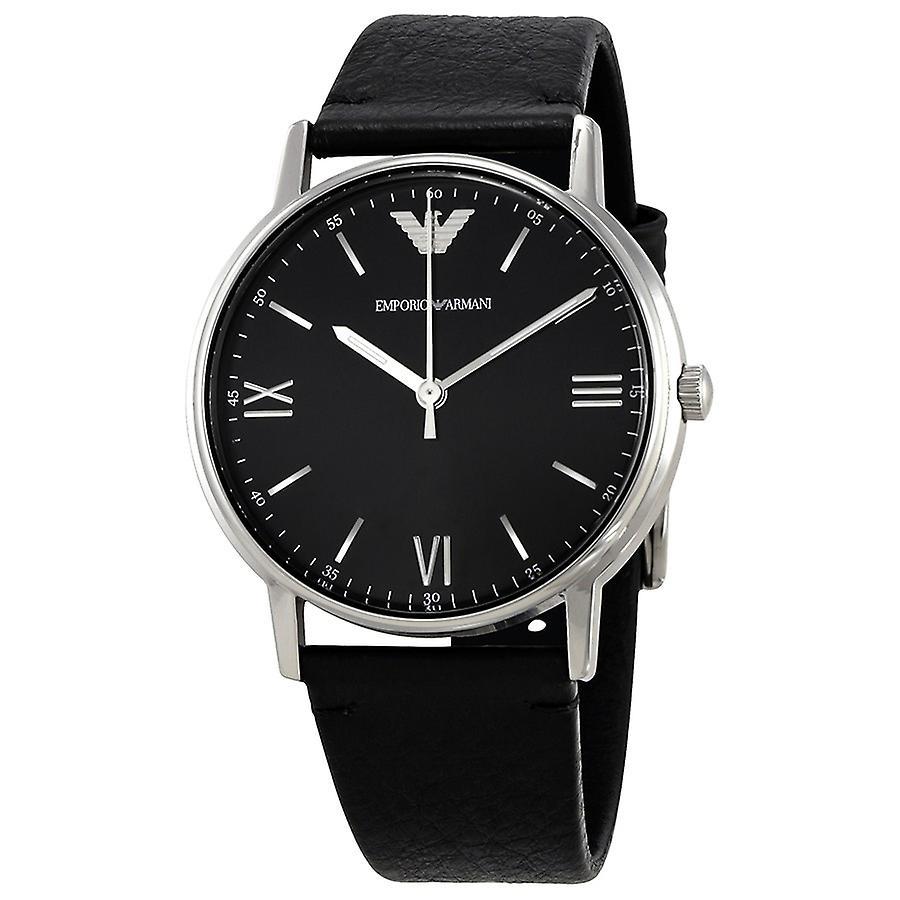 Emporio Armani Men's Ar11020 Black Leather Analog Quartz Dress Watch