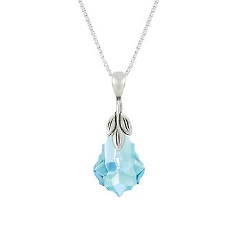 Eternal Collection Baroque Aquamarine Austrian Crystal Sterling Silver Pendant Necklace