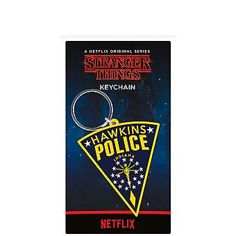 Stranger Things Hawkins Police Rubber Keyring