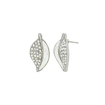Eternal Collection Cantata Mother Of Pearl Clear Crystal Silver Tone Stud Pierced Earrings