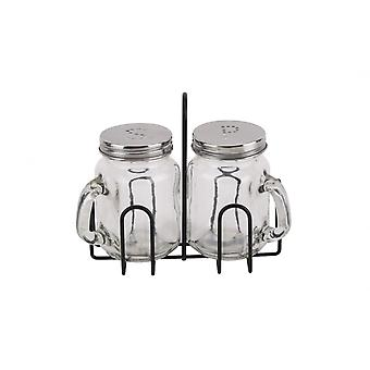 Drikking jar Shape glass salt & pepper sett