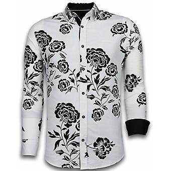 E Shirts - Slim Fit - Flower Pattern - White