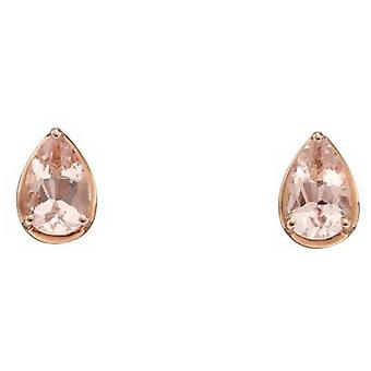 Elements Gold Morganite Stud Earrings - Pink/Rose Gold