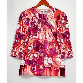 Isaac Mizrahi Live! Frauen's Pullover Engineered Paisley Print rosa A292077