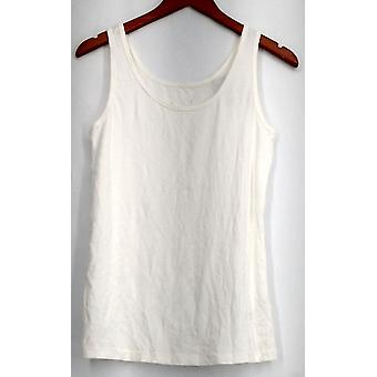 Ava & Viv Plus Top X Stretch Knit Scoop Neck Tank White Womens