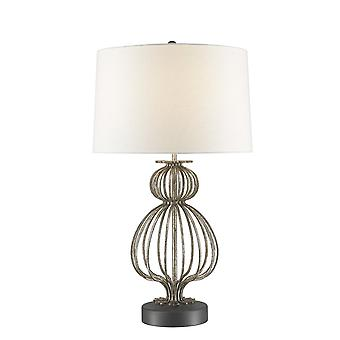 Gilded Nola Gilded Nola Lafitte Distressed Silver Steel Body On Gunmetal Steel Base Table Lamp