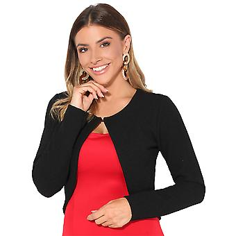 KRISP Womens Knitted Fashion Jacket Blazer Crop Top Coat Smart Cardigan Winter Shrug
