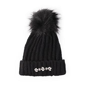 Rino & Pelle Masie Jewelled Cable Pom Pom Beanie