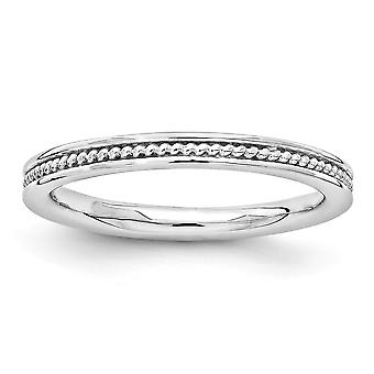 2.25mm 925 Sterling Silver Rhodium-plated Stackable Expressions Rhodium Channeled Ring - Ring Size: 5 to 10
