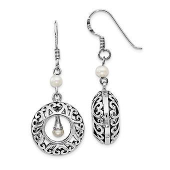 925 plata esterlina Dangle regalo en caja gancho pastor Rhodium plateado de agua dulce cultivada perla y pendientes regalos de joyería