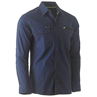 Bisley Flex & Move Utility Work Shirt Long Sleeve Large Navy