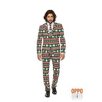 Festive green Christmas suit Opposuit slimline Premium 3-piece EU SIZES