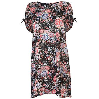 Nvme Womens Ladies Aria Short Sleeve Lightweight Floral Pattern Casual Dress