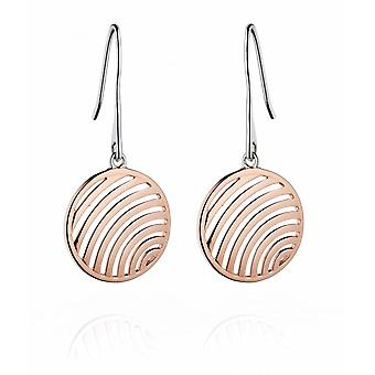 Fiorelli Silver Rose Gold Cut Out Wire Medal Drop Earrings E5199