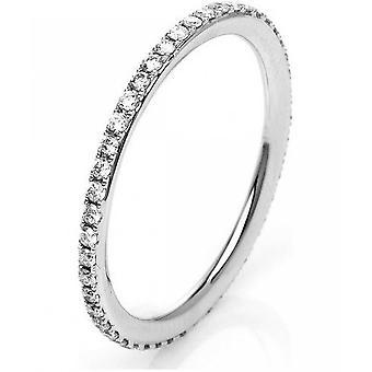 Diamantring-18K 750/-witgoud-0,35 CT. Maat 54