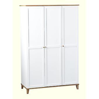 Arcadia 3 Tür Kleiderschrank Weiß/Asche