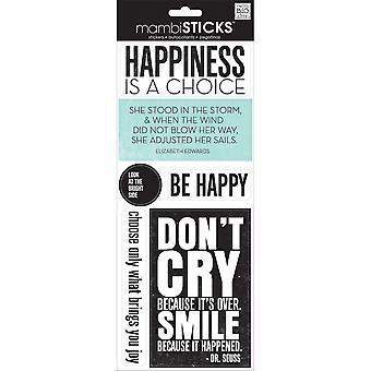 Me & My Big Ideas Sayings Stickers-Happiness Is A Choice, 6/Pkg