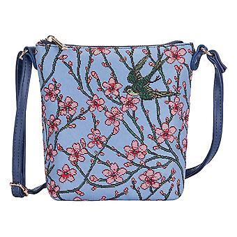 Mandelblüte und Schwalbenschlitten-Tasche mit Signare Tapisserien/Schleuderblos