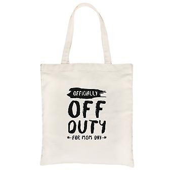 Off Duty Mom Day Canvas Tote Bag Natural Cute Mother's Day Gifts