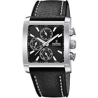 Festina CHRONO F20424-3 watch - klocka man svart läderrem svart urtavla stål