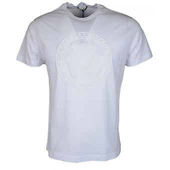 Versace Cotton Round Neck Rubberised Logo White T-shirt