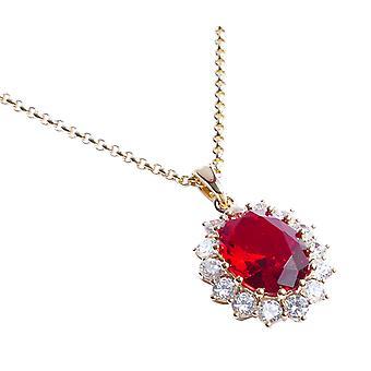 Ah! Smycken kvinnor ' s iögonfallande 18kt äkta guld fyllda halsband med en rubinröd diamant centrum.