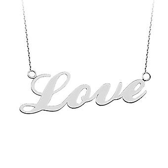 14k White Gold Side ways Love Adjustable Necklace Sparkle Cut Cable Chain 18 Inch Jewelry Gifts for Women