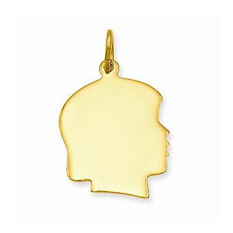 14k Gold Plaqué Polished back Large Polished Engravable Girls Head Charm Pendant Necklace Jewelry Gifts for Women