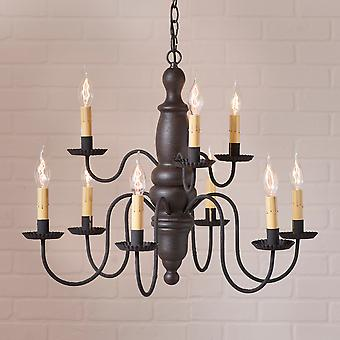 Irvin's Country Tinware Fairfield Chandelier in Americana Black