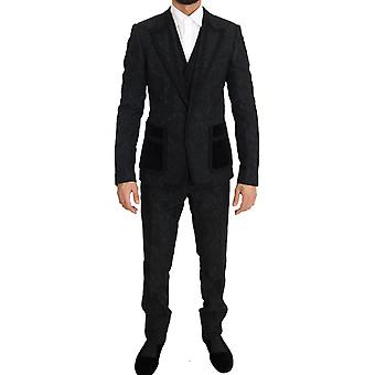 Dolce & Gabbana Musta Torrero Slim 3 kpl yksi painike puku