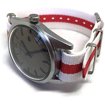 N.at.o zulu g10 watch strap red and white england flag stainless steel buckle