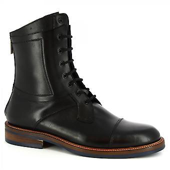 Leonardo Schuhe Men's handgemachte Schnürsenkel Stiefel schwarzes Kalbsleder mit Reißverschluss hinten