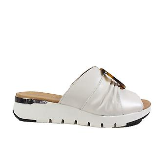 Caprice 27200 Off White Leather Womens Slip On Mule Sandals