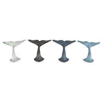 Set von 4 bunten Cast Iron Whale Schwanz WandHaken dekorative Metall Mantel Kleiderbügel