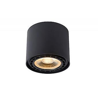 Lucide Fedler Modern Round Aluminum Black Ceiling Spot Light