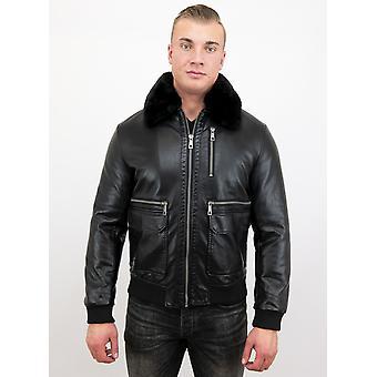 Men's imitation leather bomber jacket-Black